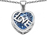 Star K™ Large Love Heart Pendant Necklace with 15mm Heart Shape Simulated Aquamarine style: 306491