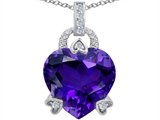 Original Star K™ Large Lock Love Heart Pendant with 13mm Heart Shape Simulated Amethyst