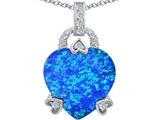 Original Star K™ Large Lock Love Heart Pendant with 13mm Heart Shape Blue Created Opal style: 306509