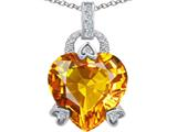 Original Star K™ Large Lock Love Heart Pendant with 13mm Heart Shape Simulated Citrine