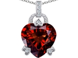 Original Star K™ Large Lock Love Heart Pendant with 13mm Heart Shape Simulated Garnet