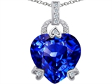 Original Star K™ Large Lock Love Heart Pendant with 13mm Heart Shape Simulated Tanzanite