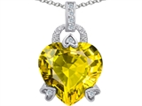 Star K™ Large Lock Love Heart Pendant Necklace with 13mm Heart Shape Simulated Peridot and Cubic Zirconia style: 306521