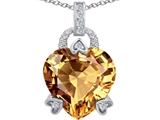 Original Star K™ Large Lock Love Heart Pendant with 13mm Heart Shape Simulated Imperial Yellow Topaz
