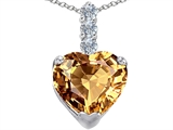 Original Star K Large 12mm Heart Shape Simulated Imperial Yellow Topaz Pendant
