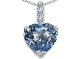 Star K™ Large 12mm Heart Shape Simulated Aquamarine Pendant Necklace style: 306527