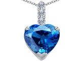 Original Star K Large 12mm Heart Shape Simulated Blue Topaz Pendant