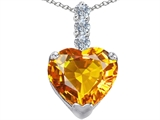 Original Star K Large 12mm Heart Shape Simulated Citrine Pendant
