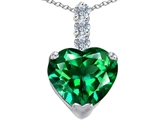Star K™ Large 12mm Heart Shape Simulated Emerald Pendant Necklace style: 306531