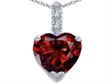 Star K™ Large 12mm Heart Shape Simulated Garnet Pendant Necklace style: 306533
