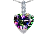 Original Star K Large 12mm Heart Shape Rainbow Mystic Topaz Pendant