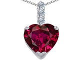 Star K™ Large 12mm Heart Shape Created Ruby Pendant Necklace style: 306538