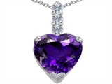 Original Star K Large 12mm Heart Shape Simulated Amethyst Pendant