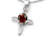 Original Star K Round Genuine Garnet Cross Pendant