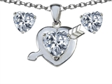 Original Star K Genuine White Topaz Heart With Arrow Pendant Box Set With Free Matching Earrings