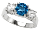 Original Star K 925 Genuine Round Blue Topaz Engagement Ring