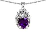 Original Star K™ Loving Mother And Hugging Family Pendant With Heart Shape 8mm Genuine Amethyst