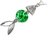 Original Star K Fish Pendant With Round Simulated Emerald
