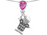 Original Star K™ Boy Holding a Balloon Mother September Birth Month Pear Shape Created Pink Sapphire Pendant style: 306552