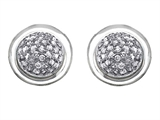 Original Star K Round Puffed Earrings with Cubic Zirconia