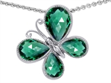 Original Star K Butterfly with Pear Shape Simulated Emerald Pendant