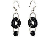 Original Star K Simulated Onyx Oval Dangling Earring Drops