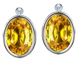 Original Star K™ Oval Genuine Citrine Earring Studs With High Post On Back
