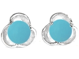 Original Star K Round Simulated Turquoise Flower Earring Studs