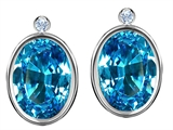 Original Star K Oval Genuine Blue Topaz Earring Studs With High Post On Back