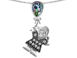Original Star K™ Girl Holding a Balloon Mother Birth Month Pear Shape Rainbow Mystic Topaz Pendant style: 306567