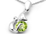 Original Star K Round 6mm Genuine Peridot Cat Pendant