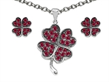 Celtic Love by Kelly Created Ruby Lucky Clover Pendant with matching earrings style: 306569