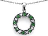 Original Star K Love Circle Pendant With Simulated Emerald