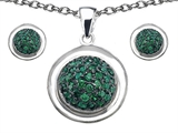 Original Star K Simulated Emerald Round Puffed Pendant Box Set with matching earrings