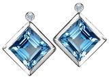 Original Star K Grade Genuine Square Blue Topaz Earring Studs With High Post On Back