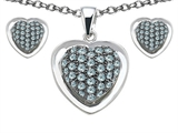 Star K™ Simulated Aquamarine Heart Shape Love Pendant with matching earrings style: 306574
