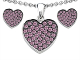 Star K™ Created Pink Sapphire Heart Shape Love Pendant with matching earrings style: 306575