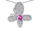 Original Star K™ Butterfly Pendant With Round Created Pink Sapphire