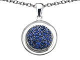 Star K™ Round Puffed Pendant Necklace with Created Sapphire style: 306577