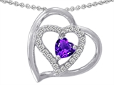 Original Star K™ Heart Shape Genuine Amethyst Pendant