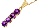 Tommaso Design™ Long Round Genuine Amethyst Straight Journey Pendant style: 306580