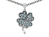 Celtic Love by Kelly Lucky Clover Pendant with Simulated Aquamarine