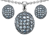 Original Star K Simulated Aquamarine Oval Puffed Pendant Box Set with matching earrings