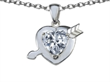 Star K™ Heart with Arrow Love Pendant Necklace with Genuine White Topaz style: 306597