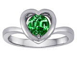 Original Star K™ Heart Engagement Promise of Love Ring with 7mm Round Simulated Emerald style: 306603