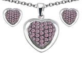 Star K™ Created Pink Sapphire Heart Shape Love Pendant with matching earrings style: 306606