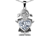 Original Star K Little Girl Holding 8mm Heart Mother Birthstone Pendant with Genuine White Topaz