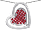 Star K™ Round Created Ruby Heart Shape Pendant Necklace style: 306608