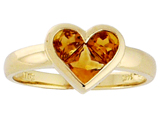 Tommaso Design Invisible Set Genuine Citrine Heart Ring