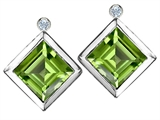 Original Star K Square Genuine Peridot Earring Studs With High Post On Back